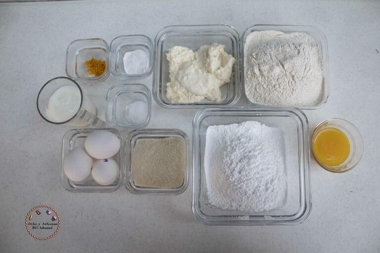 ingredientes bund cake naranja y nata