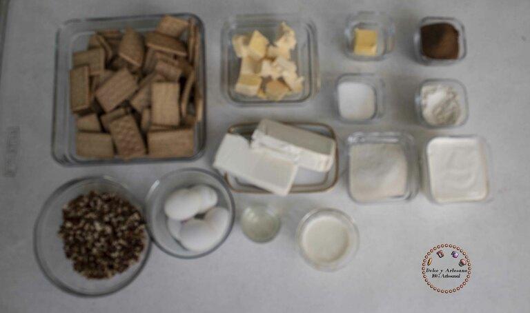 ingredientes CHESSE CAKE CON NUEZ CARAMELIZADA